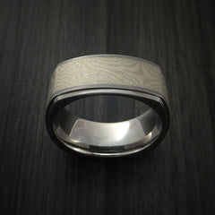 Cobalt Chrome Square Ring with Palladium Mokume Inlay Custom Made by Revolution Jewelry