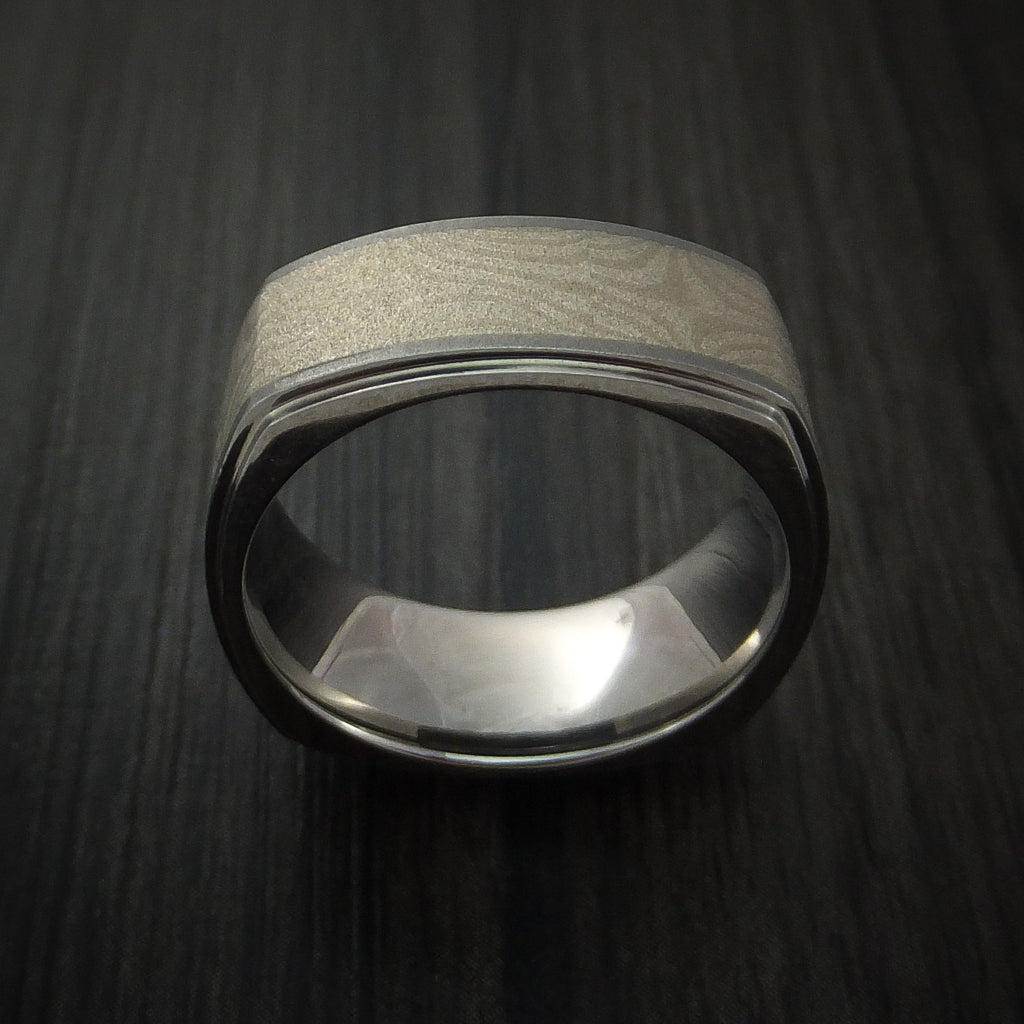 Cobalt Chrome Square Ring with Palladium Mokume Inlay Custom Made
