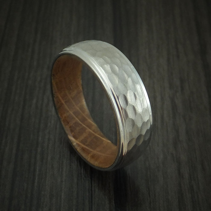 Titanium Hammered Ring with Jack Daniels Whiskey Barrel Wood Sleeve Custom Made Band