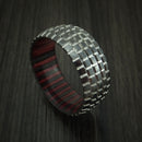 Black Zirconium Carved Tread Design Ring with Wood Sleeve Bold Unique Band Custom Made