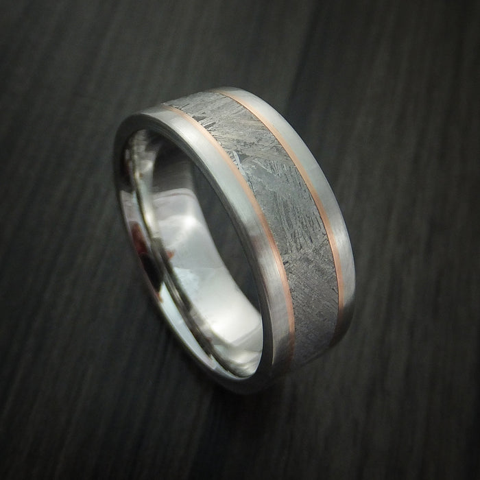 Cobalt Chrome and Gibeon Meteorite Ring with 14k Gold Inlay Custom Made