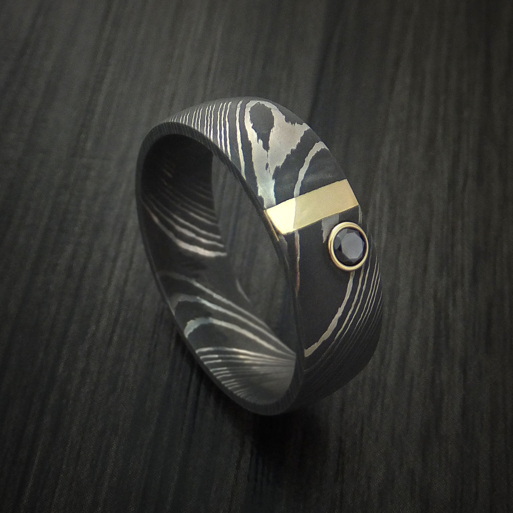 Damascus Steel with 14K Gold and Black Diamond Custom Made Band