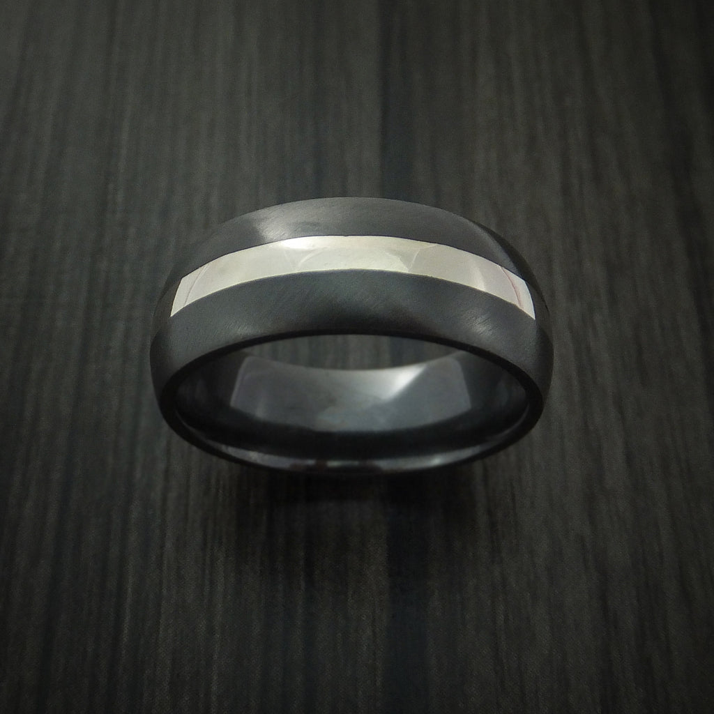 Black Zirconium Band with Sterling Silver Inlay Ring Custom Made