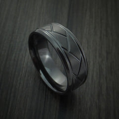 Black Zirconium Satin and Polish Weave Ring Custom Made