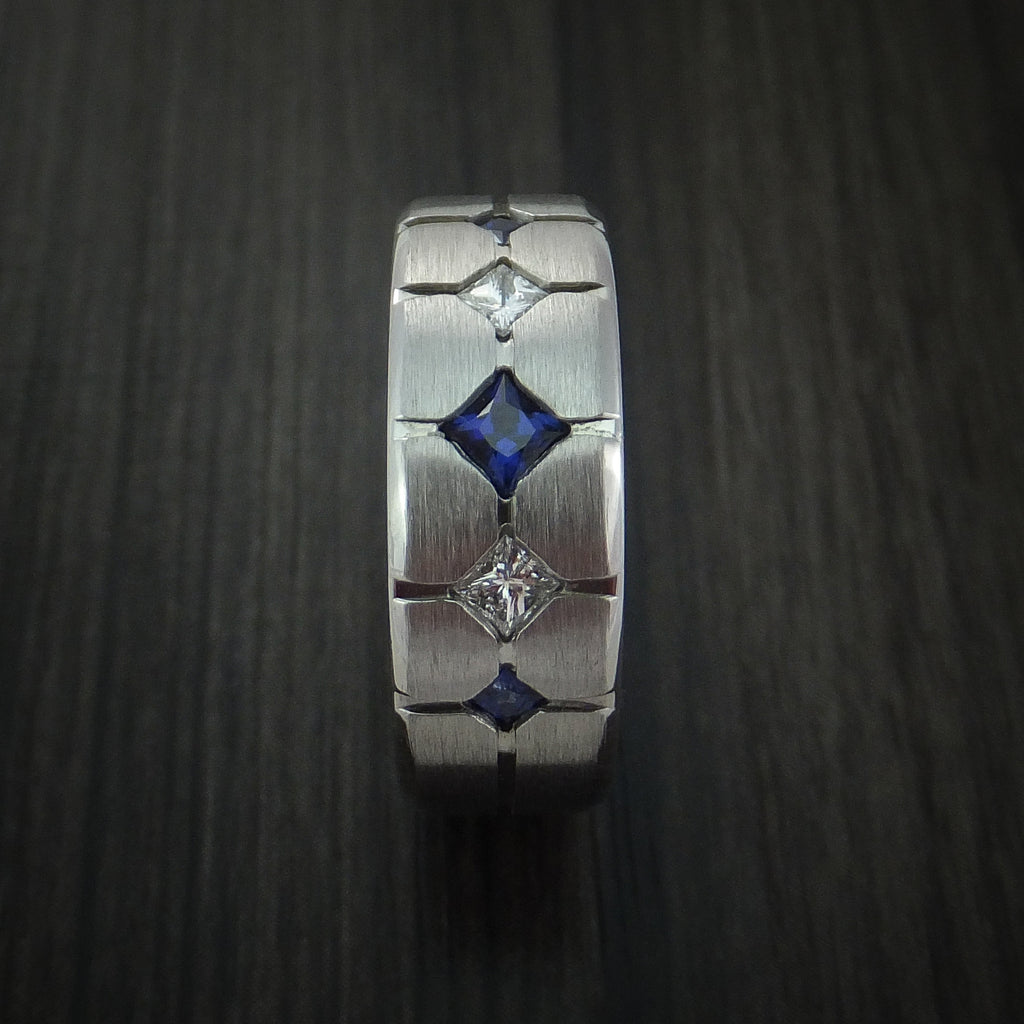 Cobalt Chrome with Sapphires and Diamonds Custom Made Band