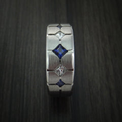 Cobalt Chrome with Sapphires and Diamonds Custom Made Band by Revolution Jewelry