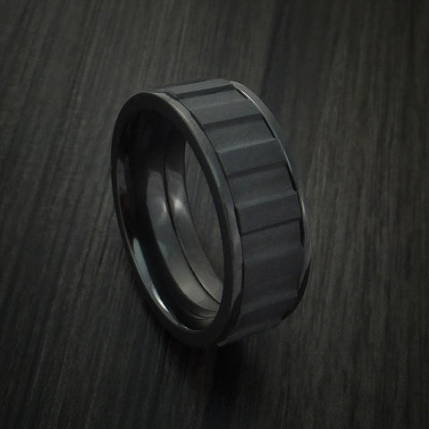 Black Zirconium Gear Shape Spinner Ring Custom Made Band