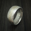 Sunset Kuro Damascus Steel Ring with 14K White Gold Hammered Inlay Custom Made Band