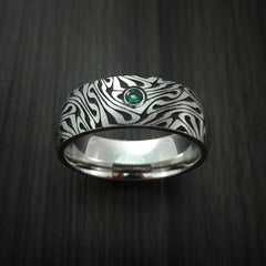 Cobalt Chrome Marble Swirl Twist Ring with Emerald Custom Made by Revolution Jewelry