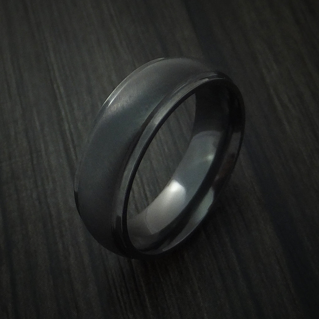 Black Zirconium Angle Satin Finish Band Custom Made