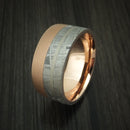 Gibeon Meteorite and 14K Rose Gold Band with Platinum Inlay Custom Made
