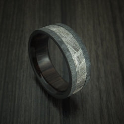 Black Zirconium Ring with Gibeon Meteorite and Hardwood Sleeve Custom Made Band