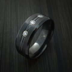 Black Zirconium Ring with Diamonds Custom Made Band by Revolution Jewelry