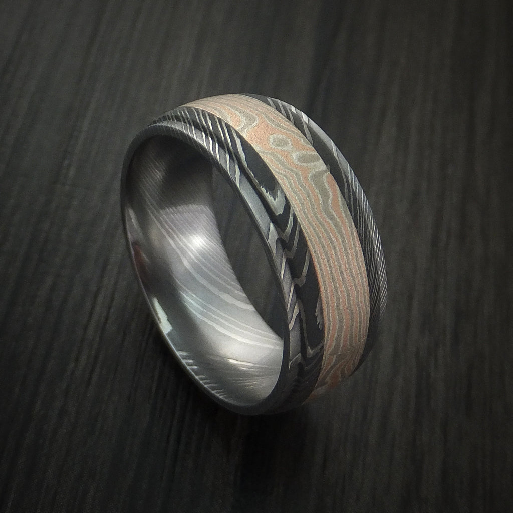 Damascus Steel Ring with Mokume Gane Inlay Custom Made Band - Revolution Jewelry  - 1