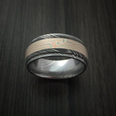 Damascus Steel Ring with Mokume Gane Inlay Custom Made Band - Revolution Jewelry  - 2
