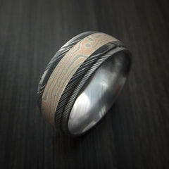 Damascus Steel Ring with Mokume Gane Inlay Custom Made Band - Revolution Jewelry  - 3