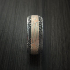 Damascus Steel Ring with Mokume Gane Inlay Custom Made Band - Revolution Jewelry  - 4