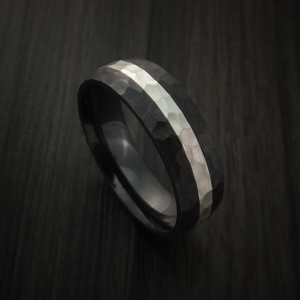 Black Zirconium Hammer Finish Band Sterling Silver Inlay Ring Made to Any Sizing 3-22 by Revolution Jewelry