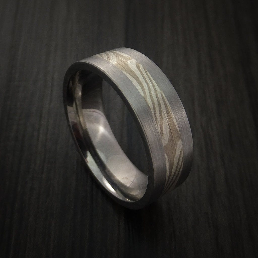 Titanium and Palladium Mokume Ring Custom Made to Any Size 3 to 22 - Revolution Jewelry  - 1