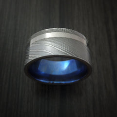 Damascus Steel Wide Ring with Palladium Inlay and Anodized Titanium Sleeve Wedding Band Custom Made - Revolution Jewelry  - 2