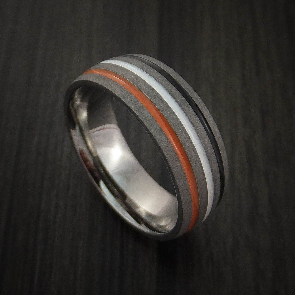 Titanium Ring with Tri Color Inlay Custom Made Band