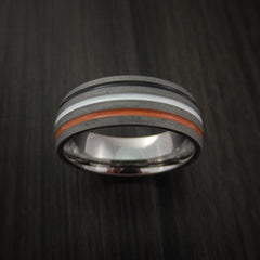 Titanium Ring with Tri Color Inlay Custom Made Band - Revolution Jewelry  - 2