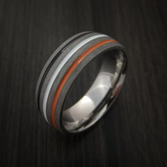 Titanium Ring with Tri Color Inlay Custom Made Band - Revolution Jewelry  - 3