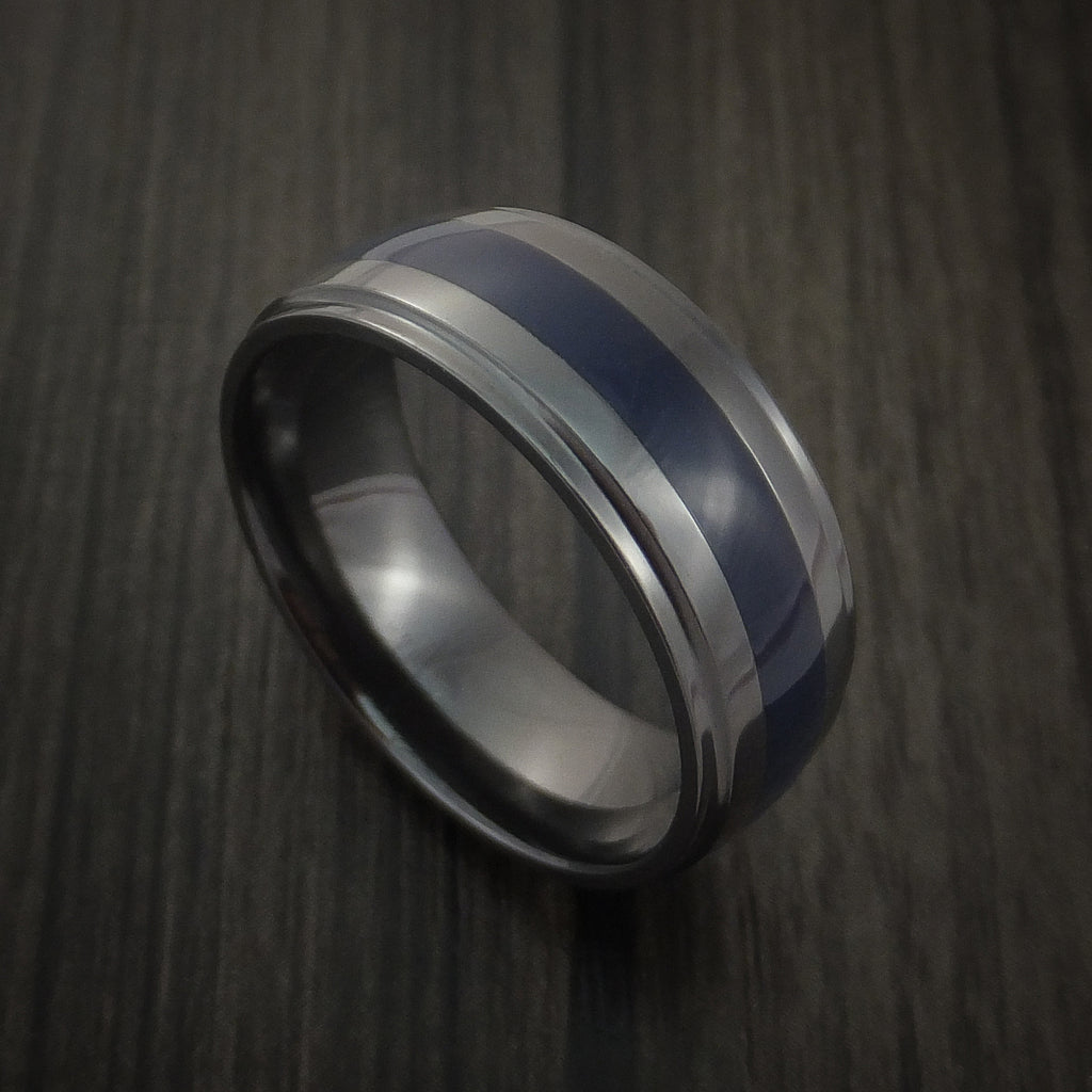 Black Zirconium Ring Color Inlay Style Band Made to Any Sizing and Color