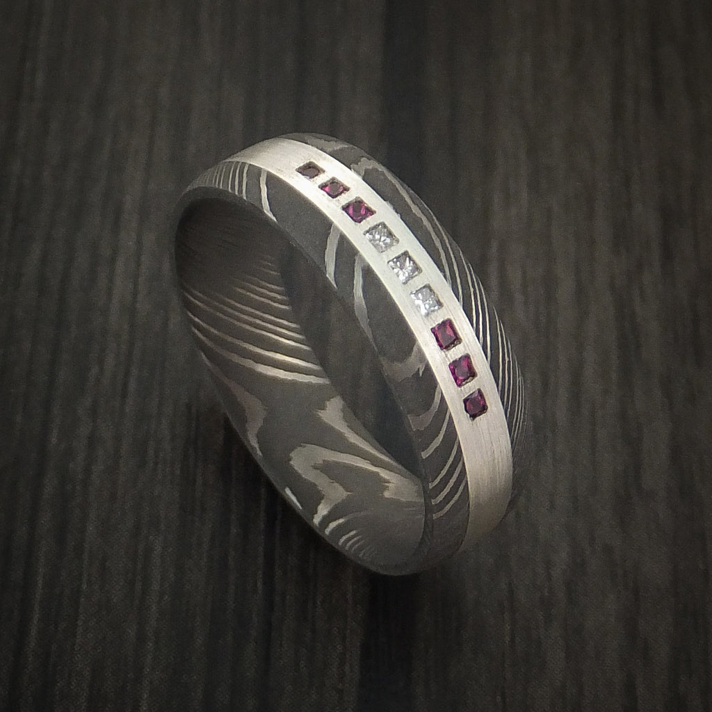 Damascus Steel Band with 6 Rubies and 3 Diamonds Set into a Silver Inlay Custom Made Ring
