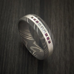 Damascus Steel Band with 6 Rubies and 3 Diamonds Set into a Silver Inlay Custom Made Ring by Revolution Jewelry