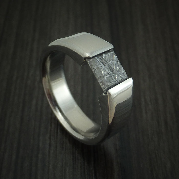 Titanium Tension Set Meteorite Ring Custom Made Band