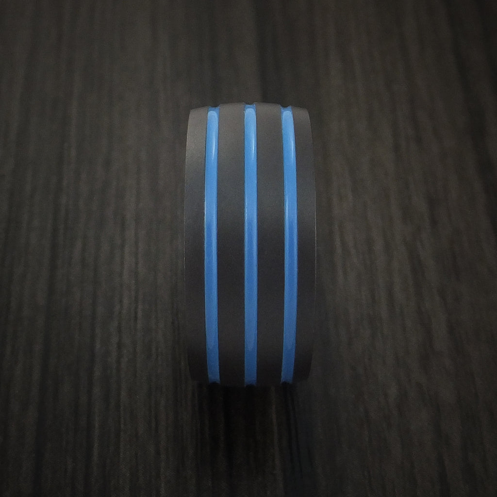 Black Zirconium Band with Tri-Color Inlay Custom Made Ring