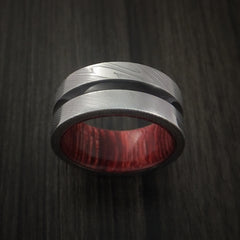 Damascus Steel Band with a Hardwood Interior Sleeve Custom Made Ring by Revolution Jewelry