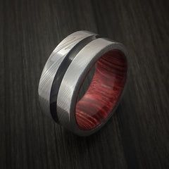 Damascus Steel Band with a Hardwood Interior Sleeve Custom Made Ring - Revolution Jewelry  - 4