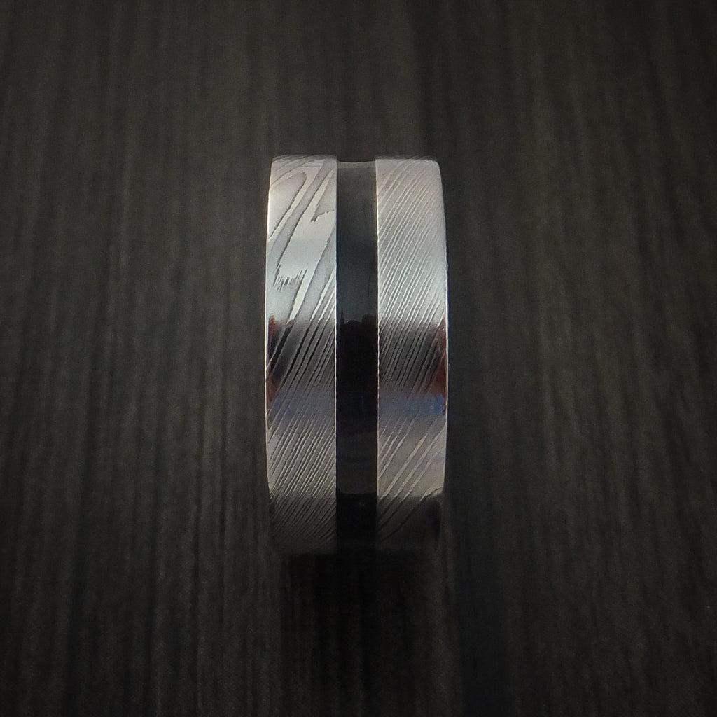 Damascus Steel Band with a Hardwood Interior Sleeve Custom Made Ring