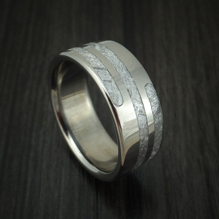 Titanium and Meteorite Spiral Design Custom Made Ring