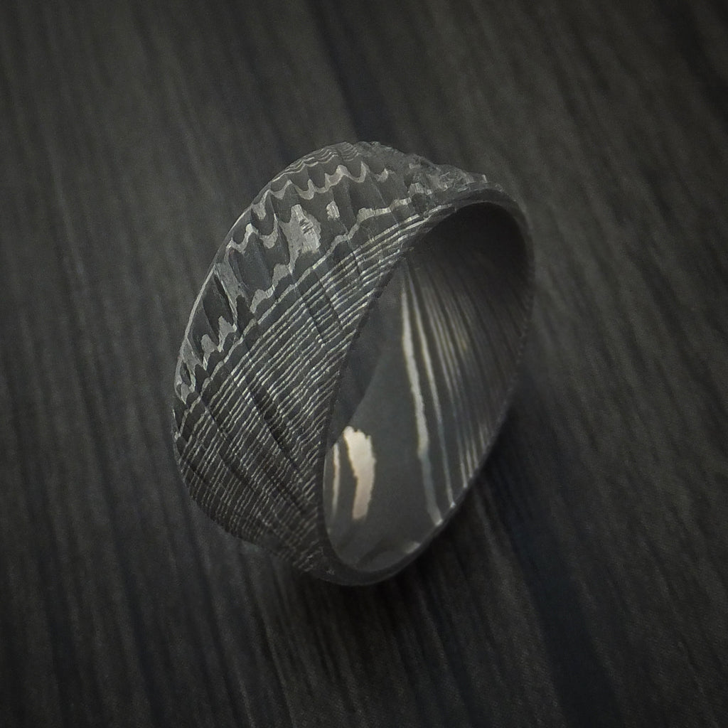 Damascus Steel Tree Bark Carved Ring Custom Made Band