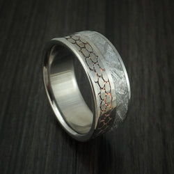 Titanium Ring with Meteorite and Etched Superconductor Custom Made Band