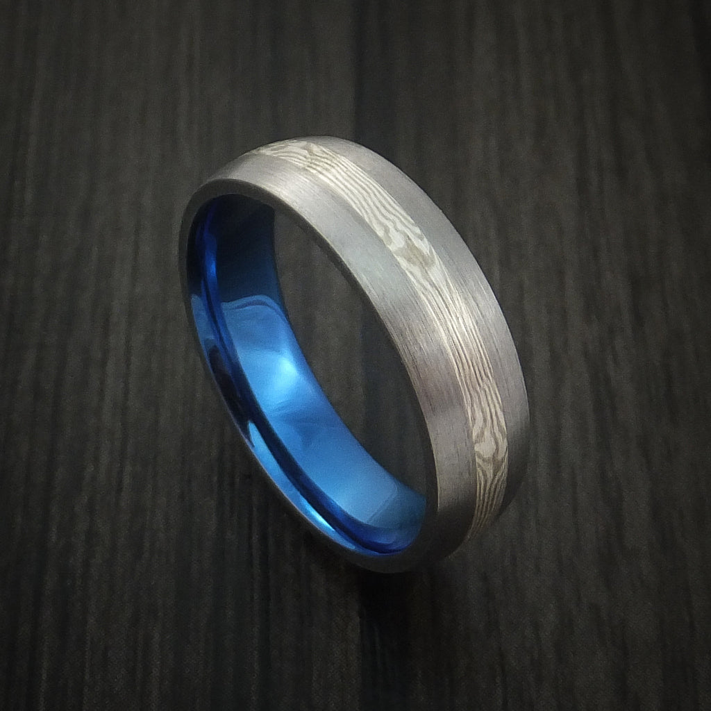 Titanium and Mokume Ring with Anodized Interior - Revolution Jewelry  - 1