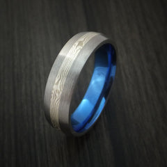 Titanium and Mokume Ring with Anodized Interior - Revolution Jewelry  - 3