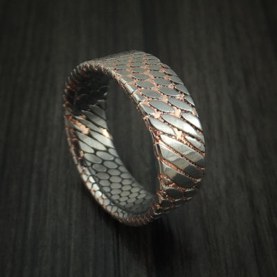 Damascus steel ring with hardwood sleeve