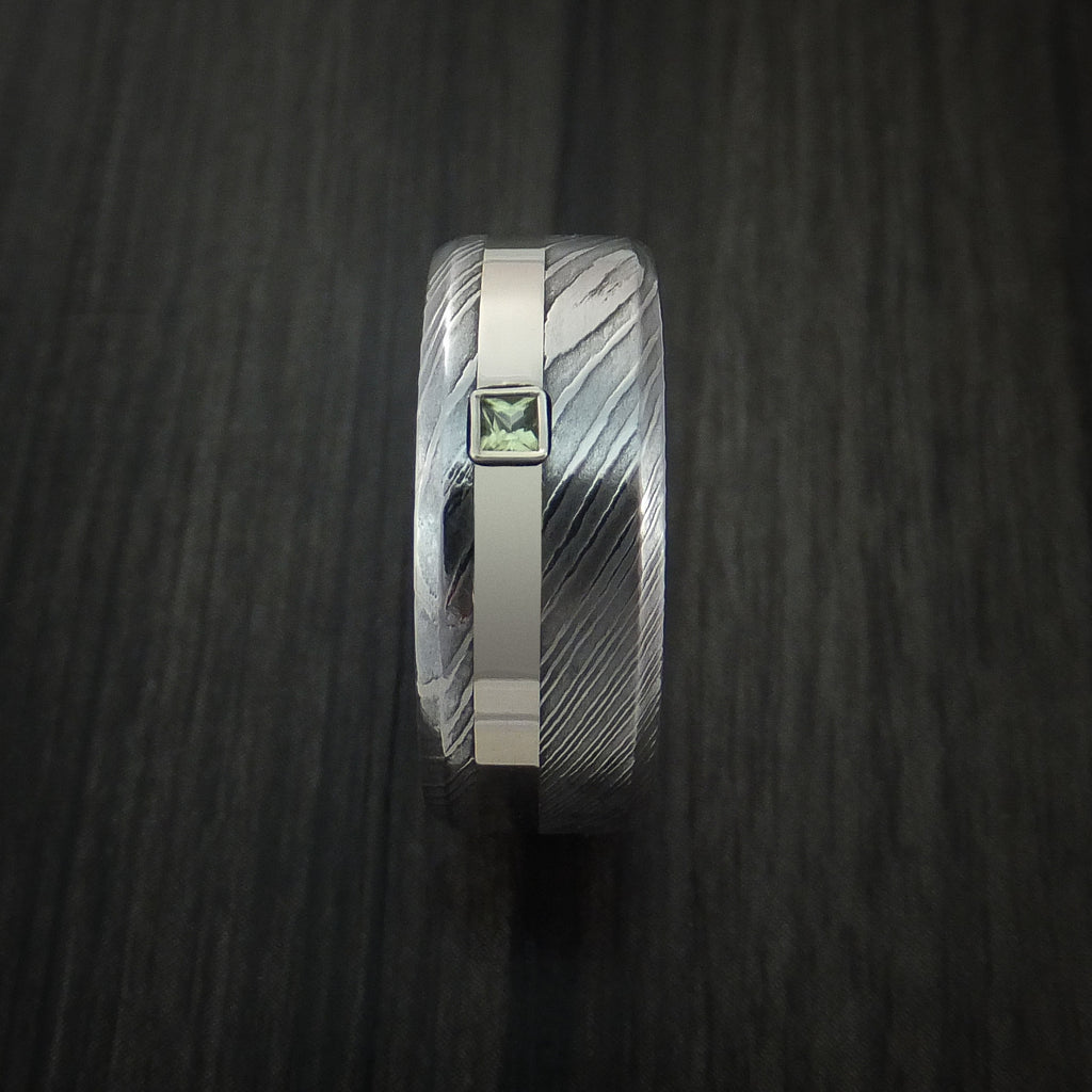 Damascus Steel Ring with White Gold and Peridot Stone Custom Made