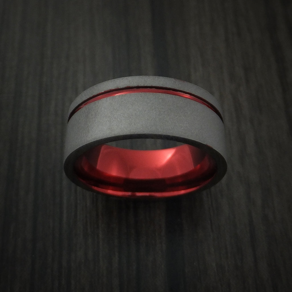 Titanium Wide Band Fine Jewelry Ring Made to Any Size Red Anodized