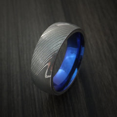 Damascus Steel Ring with Anodized Titanium Interior Sleeve Custom Made