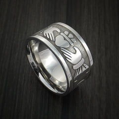 Wide Cobalt Chrome Claddagh Celtic Knot Ring Custom Made Band - Revolution Jewelry  - 1