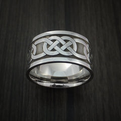 Wide Cobalt Chrome Claddagh Celtic Knot Ring Custom Made Band - Revolution Jewelry  - 5