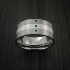 Wide Titanium Band with Sterling Silver inlay with Emerald, Ruby and Alexandrite Custom Made - Revolution Jewelry  - 2