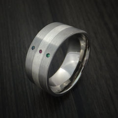 Wide Titanium Band with Sterling Silver inlay with Emerald, Ruby and Alexandrite Custom Made - Revolution Jewelry  - 3
