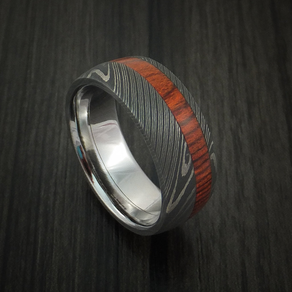 Damascus Steel Ring inlaid with ROSEWOOD Custom Made Band - Revolution Jewelry  - 1
