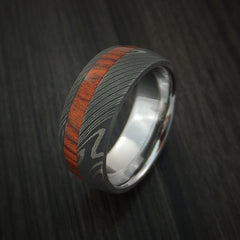 Damascus Steel Ring inlaid with ROSEWOOD Custom Made Band - Revolution Jewelry  - 3